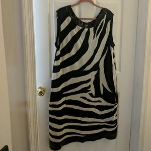 INC BLACK AND WHITE DRESS WITH SEQUINS